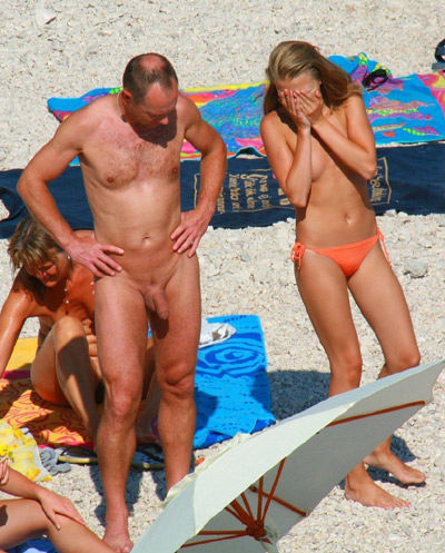 beach nudist Father daughter and